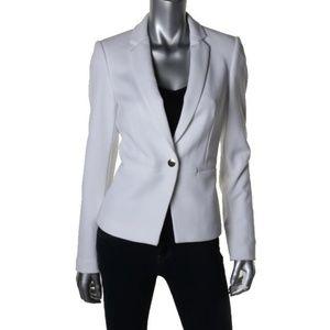 BAR III White Ponte Notch Collar One-Button Blazer